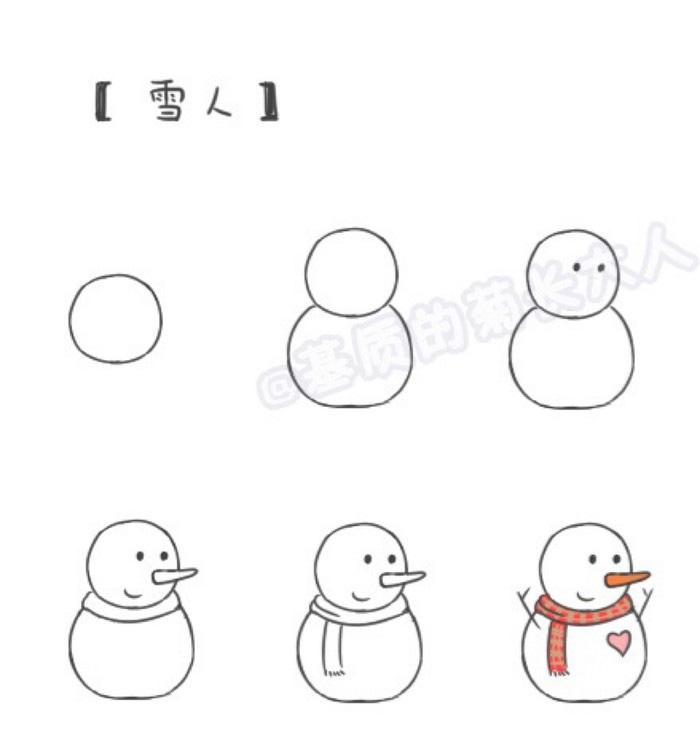 寒冷的冬天里好像什么都不开心,不过除了一样,那就是下了雪之后我们可以玩雪,可以堆雪人玩了。今天的教程就是教大家画四款可爱的小雪人。每一款都很可爱噢。第一款是基础款的小雪人,后面几款是更加可爱一点的雪人了。 首先雪人的基本造型是两个圆圆的大雪球,头部一个圆圈,身体一个圆圈,都是雪做的噢。然后其他的五官,衣服之类的就可以自己做装饰了。 长长的胡萝卜鼻子,加上围巾,帽子什么的打扮一下,小雪人就更可爱了。 来源:微博/网络  原作者:@ 图片水印